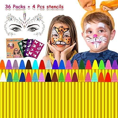 Natale Trucchi per Truccabimbi,Emooqi 36 Colori Fviso Body Paint Pittura con 4 Stencil Face Paint per Bambini, Ideale per Carnevale, Pasqua, Cosplay, Feste a Tema - Sicuro e Non Tossico (36 Colori)