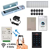 Zemgo FPC-8454 Smart Mobile WiFi Controller for Access Control with Android + Apple App, Web Browser + Smartphone Remote Viewing, Outswinging Door 300lbs Magnetic Lock, Indoor Keypad/RFID Reader