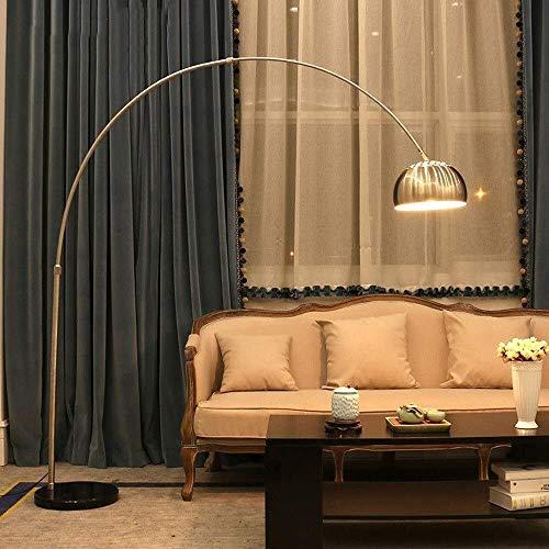 UWY Lámpara de pie Lámpara de pie de Arco Moderna Luz de Lectura para Sala de Estar Dormitorio - Iluminación 360 , Acabado en Cromo Pulido para Vivir Lectura Oficina Interruptor de pie E27 Acces