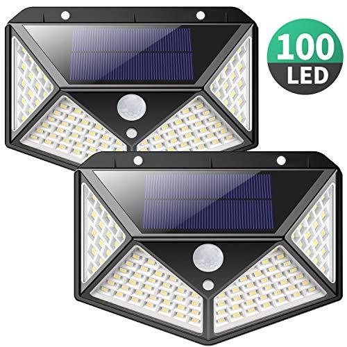 Solarlampen für Außen,【270 ° Vierseitige Beleuchtung- 2200mAh】iPosible 100 LED Solarleuchte mit Bewegungsmelder Solar Wasserdichte Wandleuchte Solar Aussenleuchte Solarlicht für Garten, Hof-【2 Stück】