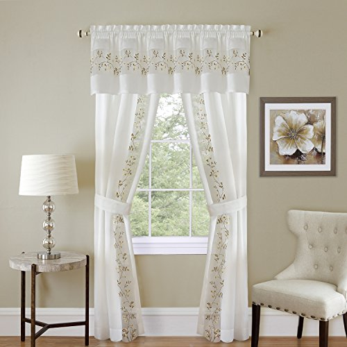 "PowerSellerUSA 5-Piece Light Filtering Floral Semi-Sheer Window Curtain Set - Includes Split Panels, Valance and Tiebacks: 55"" x 63"", Rod Pocket Curtain, White"