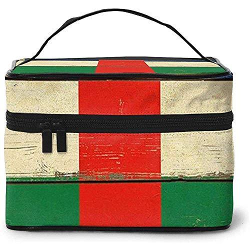 Vintage Bandera de África Central Portátil Damas Viaje Estuche cosmético Bolsa Almacenamiento Maquillaje Bolsa Multifunción Lavado Gran Capacidad