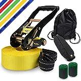 ALPIDEX Slackline Set 10 m + Baumschutz und Ratschenschutz, geeignet für Kinder, Anfänger und...
