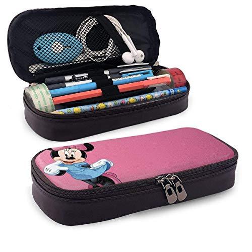 Federmäppchen Minnie Mouse Bleistiftbeutel mit großer Kapazität Make-up Stiftbeutel Briefpapier mit doppeltem Reißverschluss Stifthalter für das Schulbüro ^ B7