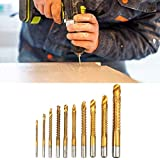 CLJ-LJ Bit de titanio ranura Taladro Set, 10pcs HSS titanio recubierto de la carpintería de madera de corte agujero cortador de sierra Broca de los engastes for el procesado de ranurado en el tablero