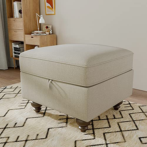 Nolany Upholstered Square Storage Ottoman Bench for The Living Room and Bedroom, Linen Fabric Ottoman Bench with Storage, Beige
