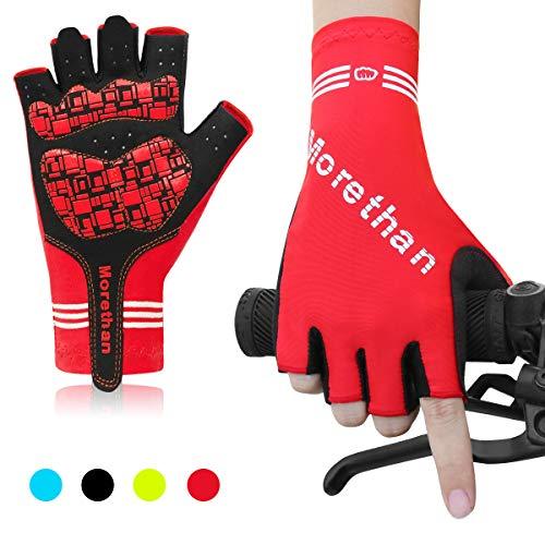 HNOOM Fahrradhandschuhe, Fingerlos MTB Handschuhe Fitness Handschuhe, Rennrad Handschuhe Rutschfestes, Atmungsaktiv Trainingshandschuhe für Damen Herren (Rot, XXL)