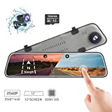 Backup Camera Car Mirror Dash Cam,12'' IPS Full Touch Screen,2560P+1080P Resolution Front and Rear View Dual...