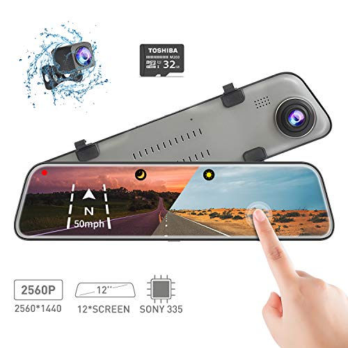Backup Camera Car Mirror Dash Cam,12'' IPS Full Touch Screen,2560P+1080P Resolution Front and Rear View Dual Lens,32G TF Card Included