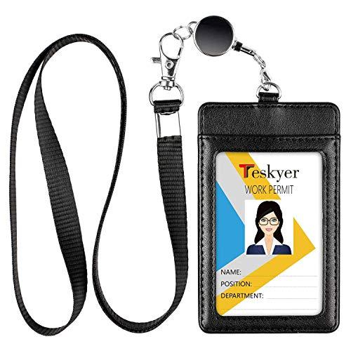 【Amazon限定ブランド】Teskyer IDカードホルダー ネームホルダー 伸縮リール式 パスケース 社員証 PUレザー 定期入れ リール付き 名札ケース カードホルダー ICカードケース 薄型(縦型ブラック)