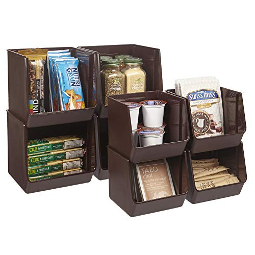 STORi Plastic Stacking Organizer Bins for Office, Pantry, and Bath | Set of 8 in 2 Sizes | Chocolate Brown