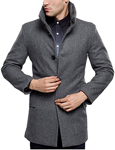 SSLR Men's British Single Breasted Slim Wool Coat (Small, Grey)