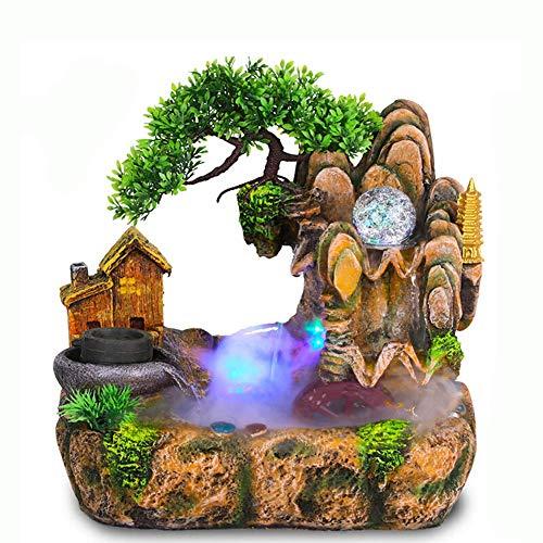 Fontaine de caractéristique de l'eau de Roche de résine, Fontaine d'eau de Table en Cascade, Fontaine d'eau intérieure Zen avec lumière LED pour Chambre de Salon de Jardin