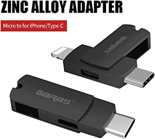 Micro USB Charging Adapter, Allows Micro USB to USB-C Data Transfer and Charging, USB C Male to Micro B Female Adapter Work with Smsung Galaxy Note 9 8 S10/S9/S8 Plus, Nexus, Google Pixel, LG(Black)