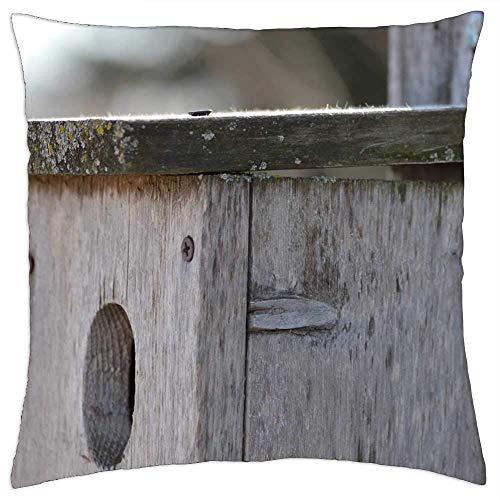 Fundas de almohada de madera, diseño de pajarera, casita de pájaro, para casa, nido vacía, fundas de cojín para dormir en avión de tren, 45 x 45 cm