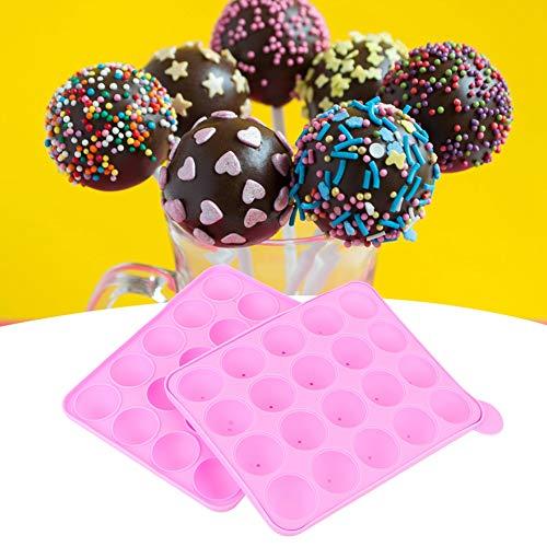 Cuque 【Cadeau de Noël】 Moule de Bricolage, Moule à Chocolat à Boule Ronde, Accessoire de Cuisine réutilisable pour Outils de pâtisserie à Domicile(Pink, 20 Hole Lollipop)