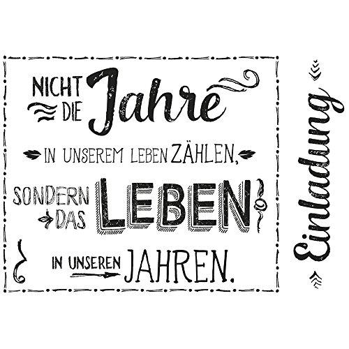 Rayher Hobby 29112000 houten stempel uitnodiging, 7 x 10 cm, tekst met uitdrukkingskracht, Butterer tekststempel, voor het vormgeven van kaarten, uitnodigingen en nog veel meer