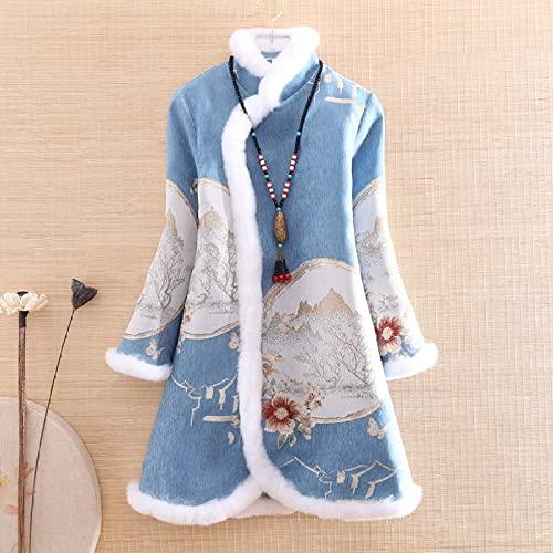 cappotto donna jacquard CIDCIJN Vestito Cinese - Inverno Donna Pelliccia Cappotto Top Cinese Stile retrò Jacquard Floreale Elegante Loose Lady Caldo Trench Cappotto Femminile Elegante Abbigliamento