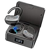 Écouteur Bluetooth Sport, Écouteurs sans Fil Hi-FI Stéréo Oreillette Bluetooth avec CVC8.0 Réduction du Bruit, 80 Heures de Lecture, Dual Microphone, Casque Sport IPX5 Étanche pour Jogging Gym