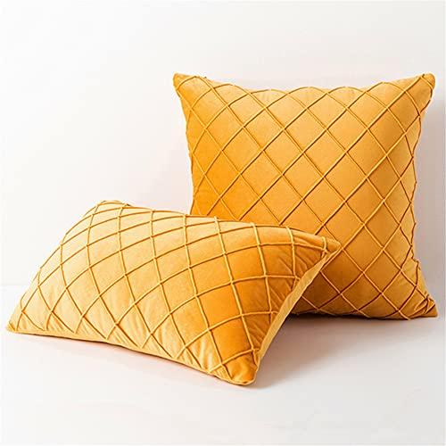 KYJSW - Set di 4 federe rettangolari/quadrate in velluto, federe decorative con cerniera nascosta (dorate, 45 x 45 cm)