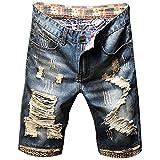 N\P Pantalones vaqueros para hombre Nostalgic Blue Jeans Capris Jeans Pantalones cortos con agujeros...