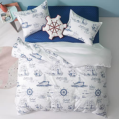 Simple&Opulence 100% Organic Cotton Duvet Cover for Kids Teens,3 Piece Soft Cartoon Comforter Cover with Zipper Closure, Boys Bedding Set with Sailboat Pattern ,Twin