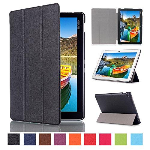 WindTeco ASUS ZenPad 10 Hülle, Ultra Dünn Leder Schutzhülle mit Auto Aufwachen/Schlaf Funktion für ASUS Zenpad 10 Z301MFL / Z2301ML / Z300M / Z300C / Z300CG / Z300CL Tablet, Schwarz