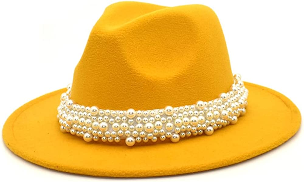 Avilego Women Wide Brim Solid Color Felt Hat with Pearl Belt Fashion Outdoor Travel Hat