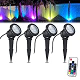 COVOART Color Changing LED Landscape Lights 12W Landscape Lighting IP66 Waterproof LED Garden Pathway Lights Walls Trees Outdoor Spotlights with Spike Stand, Outdoor Landscaping Lights, 4 Pack