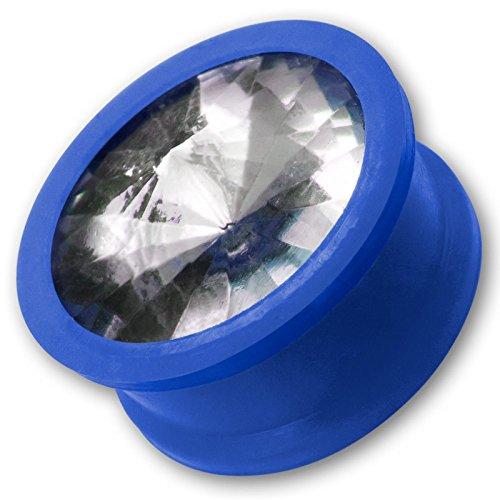 Fly Style Ohr-Plug Silikon Kristall Strass Stein Flesh Tunnel bunte Farbwahl 6-20 mm st011_WS, Grösse:6 mm; blau
