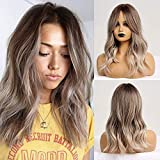 Fovermo perruque de cheveux synthétiques Ombre brun clair cendré Blonde moyenne vague perruque pour les femmes fibre résistante à la chaleur quotidien faux cheveux