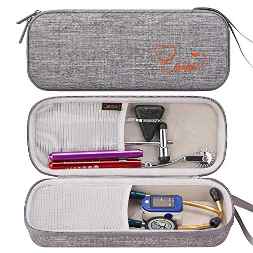 Canboc Hard Stethoscope Case for 3M Littmann Classic III, Lightweight II S.E, Cardiology IV, MDF Acoustica Stethoscope, Mesh Pocket fits Medical Scissors, Penlight, Oral Thermometer, Grey