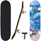 """Geelife Pro Complete Skateboards for Beginners Adults Youths Teens Kids Girls Boys 31""""x8"""" Skate Boards 7 Layers Deck Maple Wood Longboards (Universe)"""
