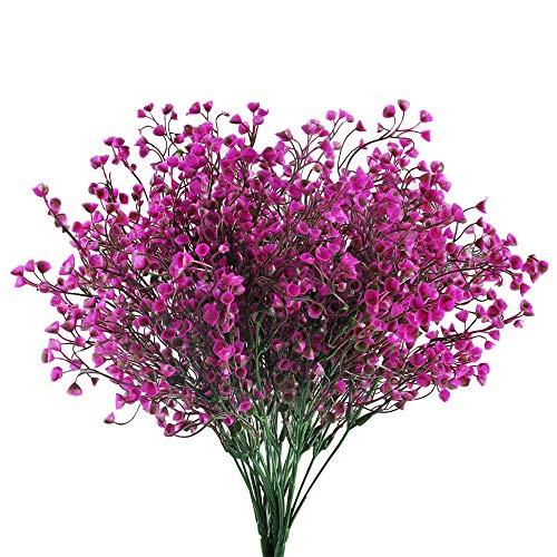HUAESIN 4pcs Künstliche Blumen Lila Kunstblumen Deko Plastikblumen Künstlich Dekoblumen Unechte Blumen Kunstpflanzen für Balkon Garten Innen Außenbereich Frühling Topf Vase Dekoration