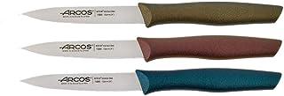 Arcos - Lot de 3 Couteaux d'office 10 cm - Rouge, Or et Bleu Metal