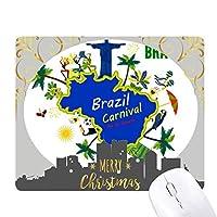 マウント・コルコバードブラジルマップブラジルカーニバル クリスマスイブのゴムマウスパッド