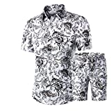 Men's Floral Tracksuit Casual 2 Piece Short Sleeve Shirt and Shorts 02-M