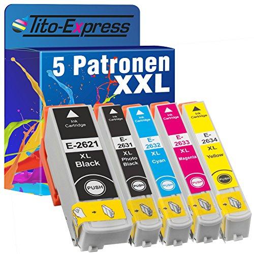 Tito-Express PlatinumSerie Sparset 5 Tintenpatronen XXL kompatibel mit Epson TE2621 TE2631 TE2632 TE2633 TE2634 Expression Premium XP-510 XP-520 XP-600 XP-600 Series XP-605 XP-610 XP-610 Series XP-615