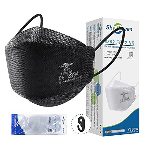 FFP2 Maske 20 Stück, Mini Größe FFP2 Schutzmasken Schwarze 4 lagig mit CE Zertifizierte und Individuelles Paket - Small Größe