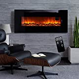 50 Inch Electric Fireplace Wall Mounted Electrical Fire Suite with Remote Control Flame Effect, Black, 220V-240V/50Hz, 900W/1800W