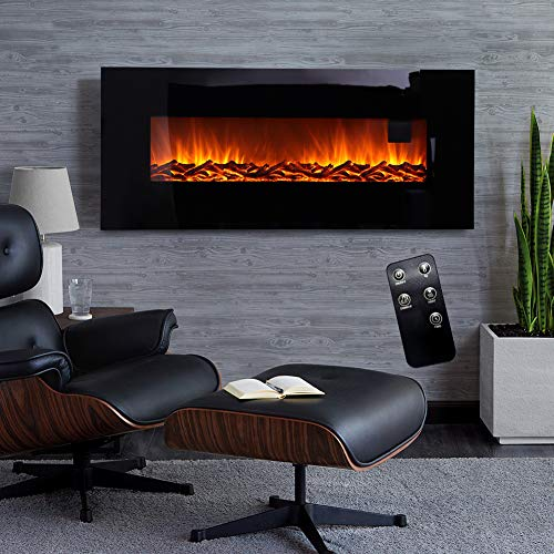 FIDOOVIVIA 50 Inch Electric Fireplace Wall Mounted Electrical Fire Black Flat Glass with LED Flame Effect & Remote Control Black, 220V-240V/50Hz, 900W/1800W