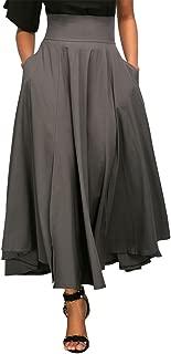 Women' s High Waist Pleated A Line Midi Long Skirt Front Slit Belted Maxi Skirt S-XXL