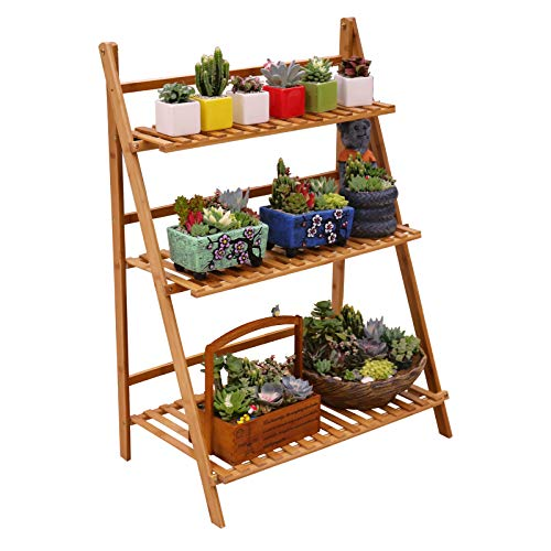 Topeakmart 4-Tier Corner Wood Flower/Plant Stand Shelving Rack Display Shelf Outdoor Yard Garden Patio Balcony Multifunctional Storage Rack Bookshelf Brown