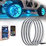 AddSafety 4PCS 15.5inch RGB LED Wheel Ring Light Kit Bluetooth Control w/Turn Signal and Braking Function can Controlled by Remote and APP(Double side)