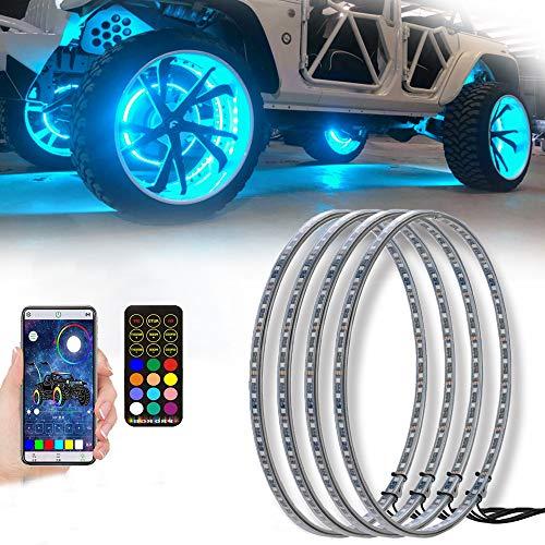AddSafety 4PCS 15.5inch RGB LED Wheel Ring Light Kit Bluetooth Control w/Turn Signal and Braking...