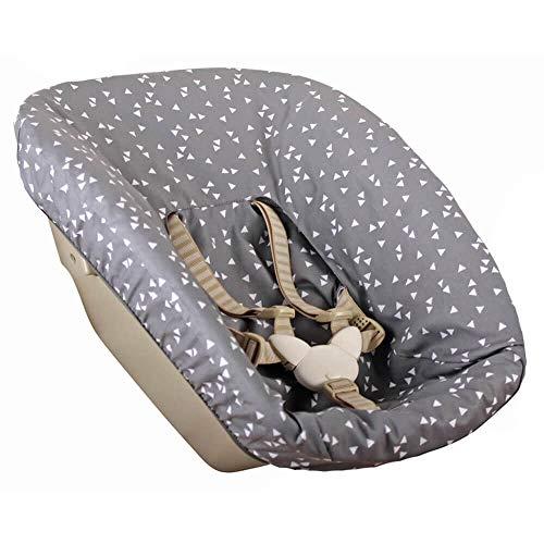 Bezug Stokke Tripp Trapp Newborn Set Altes Modell Öko-Tex 100 Baumwolle Recycelbar Schweißabsorbierend und Weich für Ihr Baby Farbe Grau Dreiecke