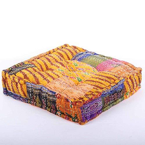 Casa Moro Orientalisches Patchwork Sitzkissen Kanthara Gelb 45x45 cm Höhe 10cm quadratisch inklusive Füllung | Indisches Yogakissen Matratzenkissen mit praktischen Tragegriff | MA107