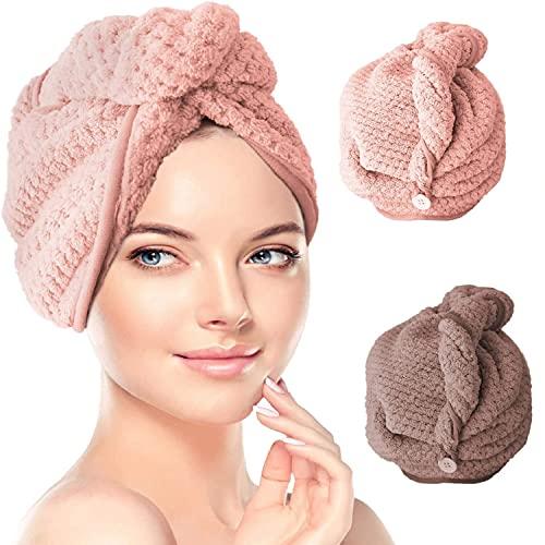 2Pezzi Turbante Asciugamano, Aciugamani in Microfibra Cappuccio, Asciugamano Assorbente, Asciugamano Per Capelli, Asciugamani da Doccia, rosa e caffè (rosa e caffè)