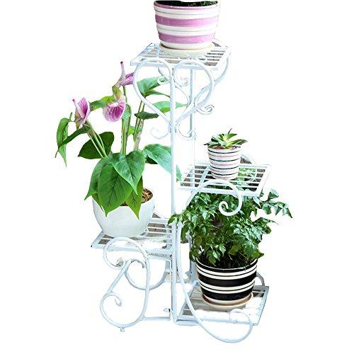 Flower wall LVZAIXI Décoration de Jardin de pergola en métal de Plantes en Pot avec 4 étagères pour l'usage d'intérieur et extérieur (Couleur : Blanc, Taille : 47 * 25 * 79cm)