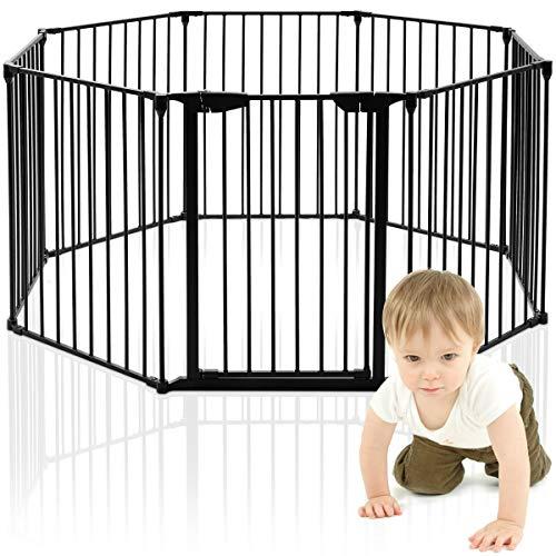 GOPLUS 8 Pcs Barrières de Sécurité Extensible à Pression Grill Pare-Feu DIY Protection pour Bébé Animaux Cheminée Escalier en Fer 500x74,5cm Noir/Blanc (Noir)
